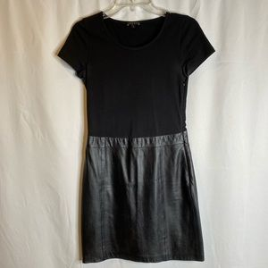Theory Mixed Jersey and Leather T-shirt Dress